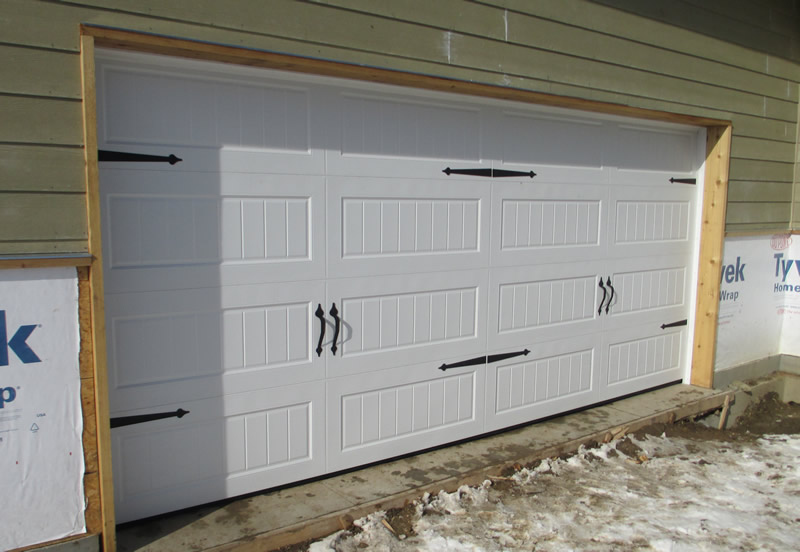 garage door with custom handles and accents